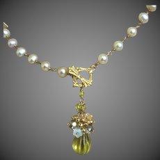 Carved Lemon Quartz Pendant, Bridal Pearl Necklace Gem Bliss