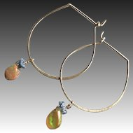 Welo Opal blue Diamonds Hoop Earrings, Camp Sundance Gem Bliss