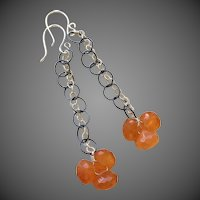 Orange Chalcedony Sterling Drop Earrings by Gem Bliss