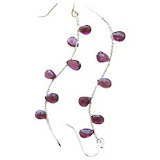 Garnet Twig earrings, Camp Sundance jewelry, urban cowgirl, Garnet drop earrings, Silver Branches Gem Bliss