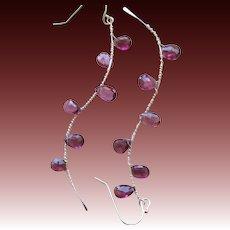 Garnet Twig earrings, Camp Sundance jewelry, urban cowgirl, Garnet drop earrings, Silver Branches Gem Bliss
