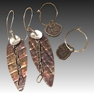 Earring combo, Silver Drop Earrings, tiny Golden Hoops, Mix Metals, Gem Bliss