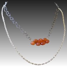 Orange Chalcedony Necklace Silver Necklace, Layering Necklace Gem Bliss