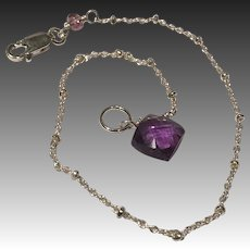 Dainty Silver Bracelet, Amethyst Bracelet, charm bracelet, Bridal, Gem Bliss Jewelry