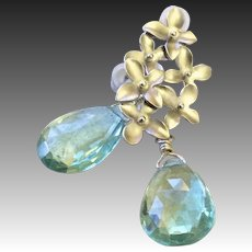 Silver Blossoms Aqua Quartz drop Earrings Gem Bliss