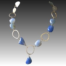 Bold Blue Chalcedony Sterling Silver OOAK Necklace Gem Bliss
