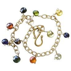 Rainbow Charm bracelet, 14k Gold filled, CZ charms, Camp Sundance, layering bracelet, Gem Bliss Jewelry