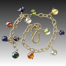 Rainbow Charm bracelet, 14k Gold filled, CZ charms, Camp Sundance, layering bracelet, Gem Bliss