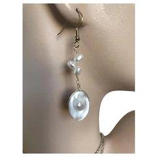 Pearl Earrings, Blister Pearl Dangles, Mabe Pearl drop Earrings