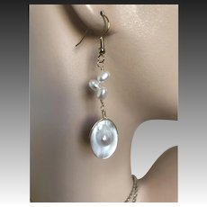 Pearl Earrings, Blister Pearl Dangles, Mabe Pearl drop Earrings