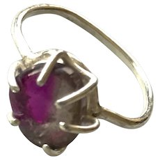 Tourmaline Slice Silver Ring, handmade silver prong ring by Gem Bliss