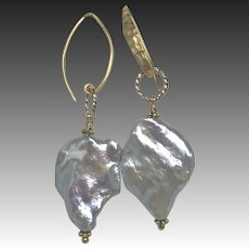 Genuine Baroque freshwater Pearl 22K Vermeil hammered Earrings