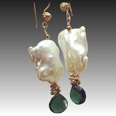 Green Chrome Diopside Genuine Baroque Pearl Gold filled Earrings, statement earrings