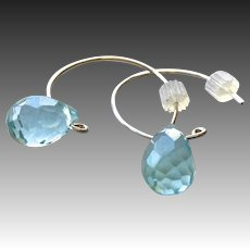 Silver Hoop water droplet Earrings, handmade, small, blue, hoop earrings