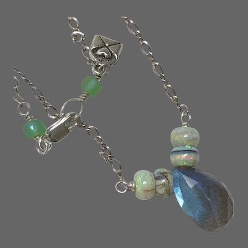 Labradorite and Opal Silver necklace by Gem Bliss