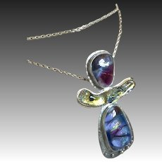 Long Silver Dichroic 3 part pendant Necklace