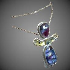 Long Silver Dichroic 3 part pendant Necklace