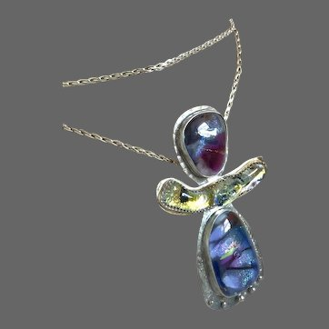 Long Silver Dichroic Art Glass 3 part pendant Necklace by Gem Bliss Jewelry