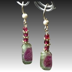 Classic Watermelon Tourmaline Gem Slices with Garnet Gold filled dangle Drop Sandia Earrings by Gem Bliss