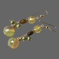 Banded Fluorite Tigereye Pearls and CZ dangle earrings by Gem Bliss