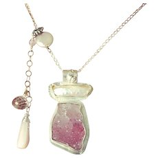 Drusy and Keshi Pearl Pendant Sterling Silver Necklace by Gem Bliss