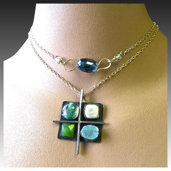 Dichroic Art Glass, Silver necklace, statement necklace, boho necklace