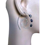 Silver spiral hoops, Swirl Earrings, Pearl Hoops, Black Pearls, urban cowgirl, Sterling Silver Hoops, Camp Sundance, Gem Bliss Jewelry