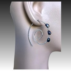 Silver spiral hoops, Swirl Earrings, Pearl Hoops, Black Pearls, urban cowgirl, Sterling Silver Hoops, Camp Sundance, Gem Bliss Jewelry