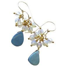 Boulder Opal Gold filled Opalite dangle drop Earrings
