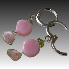 Pink Opal Watermelon Tourmaline Peridot tiny Silver Hoop Earrings, adult, child earrings