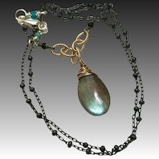 Labradorite Silver Necklace Solitaire Mixed Metals Gem Bliss Jewelry