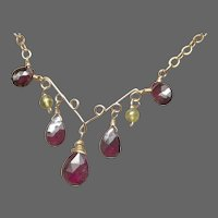 Garnets and Peridot Gold filled Scroll work Necklace