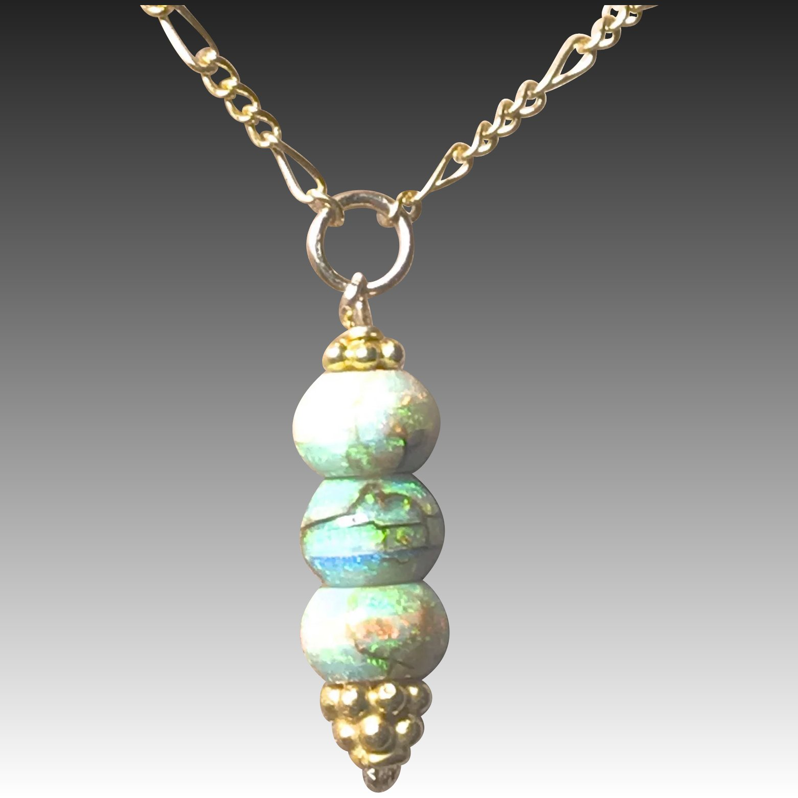 Opal Drop Gold Filled Pendant Necklace Gem Bliss Jewelry