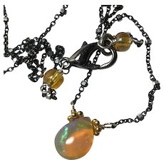 Welo Opal, Opal Necklace, Ethiopian Golden Opal pendant, dark Patina, oxidized Silver