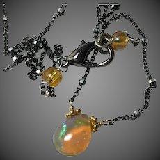 Welo Opal, Opal Necklace, Ethiopian Golden Opal pendant, dark Patina, oxidized Silver
