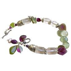 Tourmaline slices Charm Bracelet, Tourmaline Bracelet, Green amethyst, Silver bracelet, October birthstone