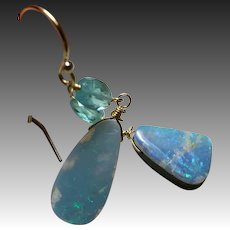 Boulder Opal Gold filled Apatite dangle drop Earrings by Gem Bliss Jewelry