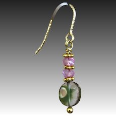 Topaz and Watermelon Tourmaline Slice drop earrings, Pink, Green, Black Gem Tourmaline Gold filled Tourmaline and Topaz Earrings