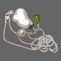 Peridot Solar Quartz Pearl Sterling Silver 18 inch charms Necklace