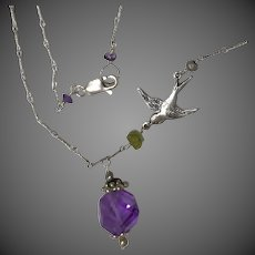 Amethyst Silver pendant necklace, February birthstone, Dove charm Sterling Silver Necklace