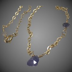 Tanzanite Solitaire necklace Gold filled Iolite dainty necklace, December birthstone