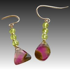 Rose Gold Pink and green Tourmaline earrings, Watermelon Tourmaline Slice Earrings by Gem Bliss Jewelry