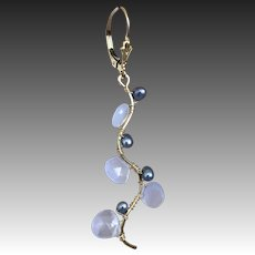 Twig earrings, Holly Blue Chalcedony Earrings, urban cowgirl, gem and pearl drops, Gem Bliss Jewelry