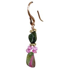 Rose Gold filled Watermelon Tourmaline Slice nugget with Topaz drop Earrings by Gem Bliss Jewelry