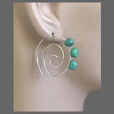 Turquoise Hoops, Silver spiral hoops, Swirl Earrings, urban cowgirl, Sterling Silver Earrings, Camp Sundance, Gem Bliss Jewelry