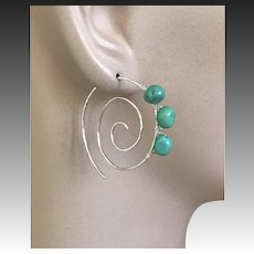 Turquoise Hoops, Silver spiral hoops, Swirl Earrings, urban cowgirl, Sterling Silver Earrings, Camp Sundance, Gem Bliss Jewelry