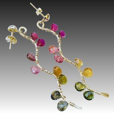 Tourmaline Twig earrings, Rainbow Tourmaline Branch earrings, Sterling Silver Dangle drops Gem Bliss jewelry