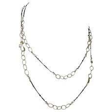 Multi-chain Gold Necklace Black Silver Long Necklace Gold and Black Multi Chain Necklace