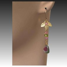Tourmaline earrings, Watermelon Tourmaline slice Peridot Topaz Gold filled dangle drop Earrings