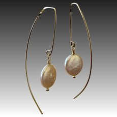 Modern Minimalist Long Gold filled Earrings with Coin Pearl